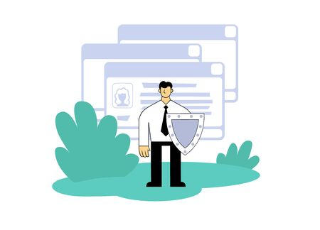 Businessman with a shield protecting personal data in front of ui windows. Illustration