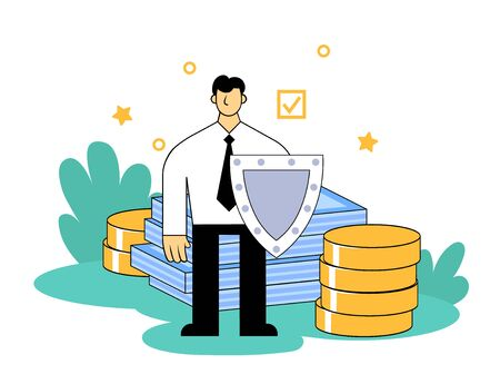 Businessman with a shield protecting savings and inestments in front of pile of money. Cartoon flat vector illustration. Isolated on white background.