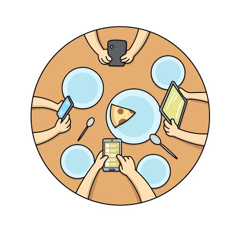 Top view of people's hands holding communication devices at the diner table with pizza and plates on it. Gadget addiction, social media dependency concept. Flat vector illustration.