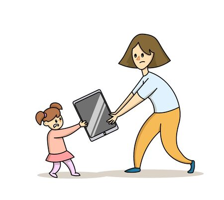 Mom taking a smartphone away from her daughter.