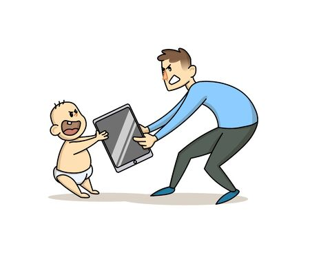 Father taking a smartphone away from his toddler child. Children's dependence on gadgets, parental upbringing concept. Flat vector illustration, isolated on white background.