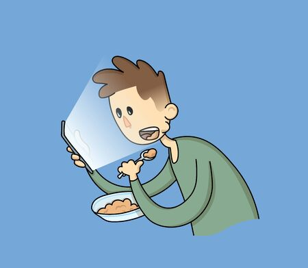Cartoon boy eating with a phone in his hand.