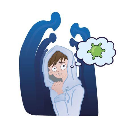 Teenage boy afraid of people around him thinking about virus.