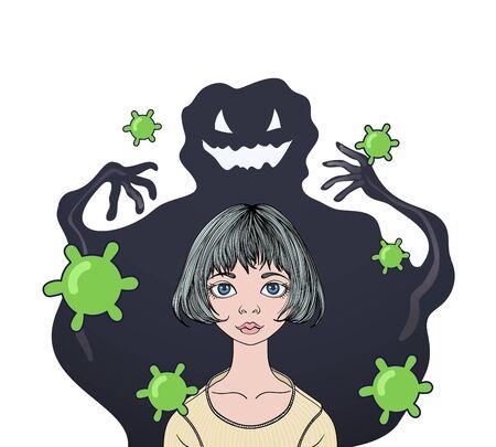 Big virus monster scares teenage girl with viruses flying around.