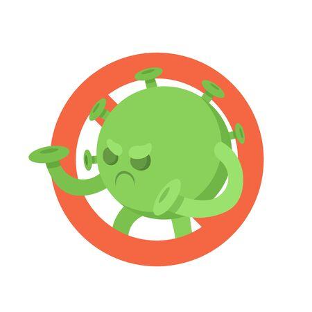 Stop coronavirus symbol. Green cartoon coronavirus monster on red stop sign. Flat vector illustration, isolated on white background.