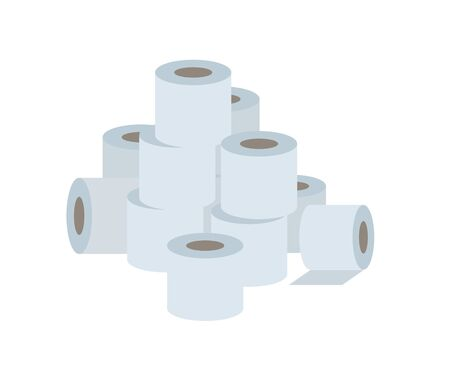 Pile of white paper toilet rolls. Flat vector illustration, isolated on white background. Stock Illustratie