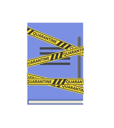 Yellow-black barricade tape with quarantine word wrapped around a blue notebook. Coronavirus self-isolation concept. Flat vector illustration, isolated on white background. Illustration