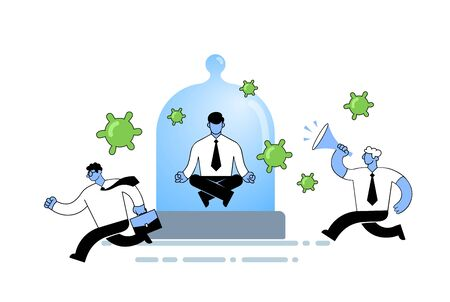 Man in office suit meditating under a glass dome while people running around panicking and viruses flying by. Quarantine, stay home concept. Flat vector illustration, isolated on white background.
