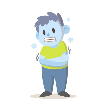 Shivering boy feeling cold, freezing temperature, cold weather. Cartoon character design. Colorful flat vector illustration, isolated on white background.