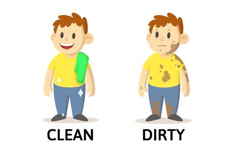 Wörter saubere und schmutzige Textkarte mit Zeichentrickfiguren. Erklärungskarte für gegenüberliegende Adjektive. Flache Vektorillustration, lokalisiert auf weißem Hintergrund.