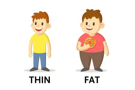 Words thin and fat textcard with cartoon characters. Opposite adjectives explanation card. Flat vector illustration, isolated on white background. Vecteurs