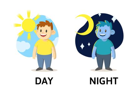 Words day and night textcard with cartoon characters. Opposite adjectives explanation card. Flat vector illustration, isolated on white background.
