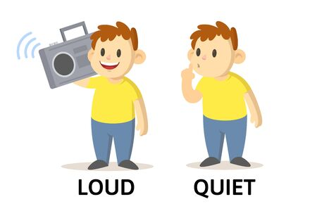 Words quiet and loud textcard with cartoon characters. Opposite adjectives explanation card. Flat vector illustration, isolated on white background. Ilustração Vetorial
