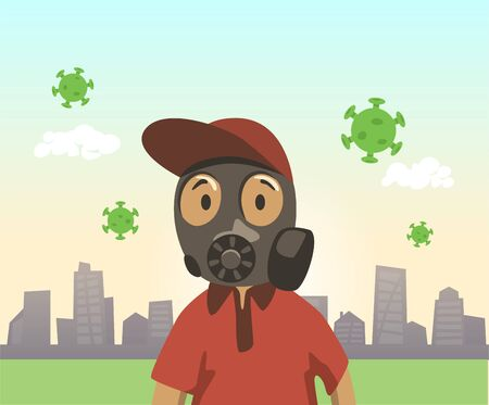 Boy in gas mask on summer city background with green viruses floating around. Quarantine, coronavirus outbreak concept. Colorful cartoon flat vector illustration.