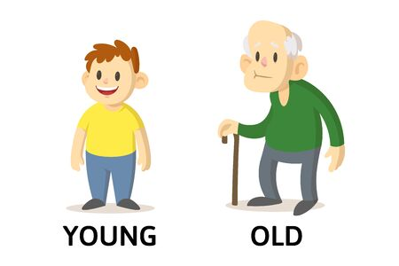 Words young and old textcard with cartoon characters. Opposite adjectives explanation card. Flat vector illustration, isolated on white background.