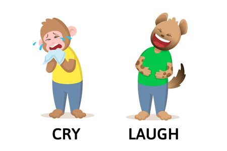 Words cry and laugh textcard with cartoon monkey and hyena characters. Opposite adjectives explanation card. Flat vector illustration, isolated on white background.