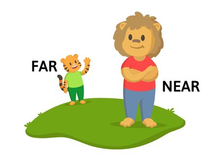 Words far and near textcard with cartoon lion and tiger characters. Opposite adverb explanation card. Flat vector illustration, isolated on white background.