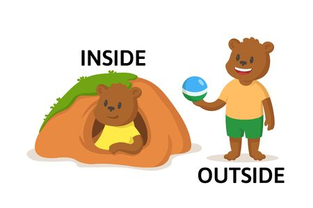 Words inside and outside textcard with two cartoon beaver or woodchuck characters. Opposite adverb explanation card. Flat vector illustration, isolated on white background.