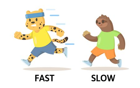Words fast and slow textcard with cartoon cheetah and sloth characters running. Opposite adjectives explanation card. Flat vector illustration, isolated on white background. Vettoriali
