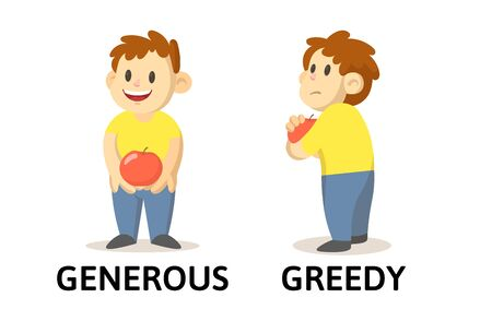 Words generous and greedy flashcard with cartoon boy characters. Opposite adjectives explanation card. Flat vector illustration, isolated on white background.