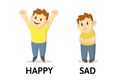Words happy and sad opposites flashcard with cartoon boy characters. Opposite adjectives explanation card. Flat vector illustration, isolated on white background.
