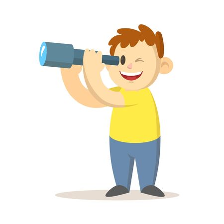 Boy looking through a spyglass, cartoon character design. Colorful flat vector illustration, isolated on white background. Vecteurs