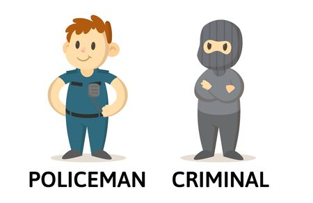 Words policeman and criminal opposites flashcard with cartoon characters. Opposite nouns explanation card. Flat vector illustration, isolated on white background. Vettoriali