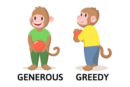Words generous and greedy textcard with two cartoon monkey characters. Opposite adjectives explanation card. Flat vector illustration, isolated on white background.