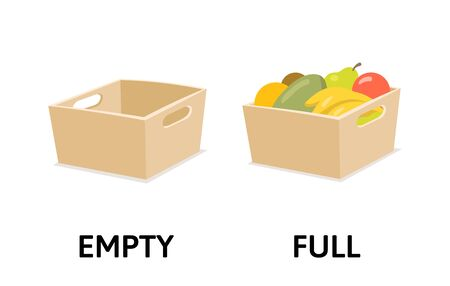 Words full and empty opposites flashcard with box, fruits, and veggies. Opposite adjectives explanation card. Flat vector illustration, isolated on white background.