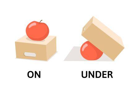 Mots sur et sous les opposés flashcard avec boîte de dessin animé et pomme. Carte d'explication des prépositions opposées. Illustration vectorielle plane, isolée sur fond blanc.