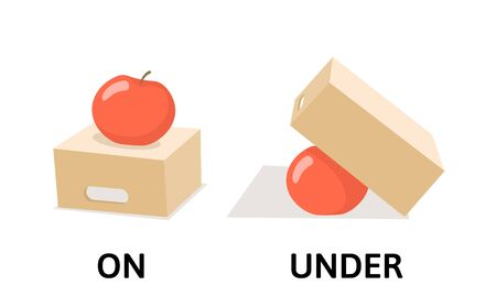 Words on and under opposites flashcard with cartoon box and apple. Opposite prepositions explanation card. Flat vector illustration, isolated on white background.