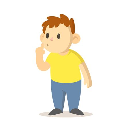 Boy asking for silence with finger pressed to his lips, cartoon character design. Colorful flat vector illustration, isolated on white background. 向量圖像