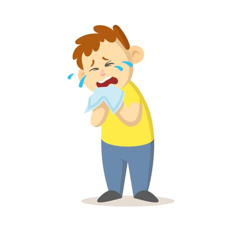Unhappy boy crying out loud an dwiping his tears with a handkerchief, cartoon character design. Colorful flat vector illustration, isolated on white background.