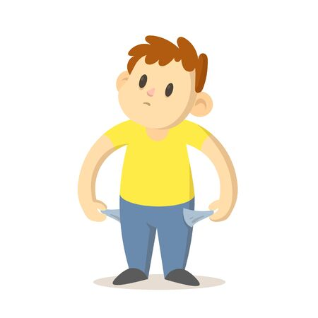 Smiling boy showing his empty pockets, poor, broke young man. Cartoon character design. Colorful flat vector illustration, isolated on white background. Vecteurs