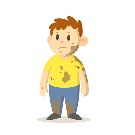 Boy covered in mud standing straight, cartoon character design. Colorful flat vector illustration, isolated on white background.