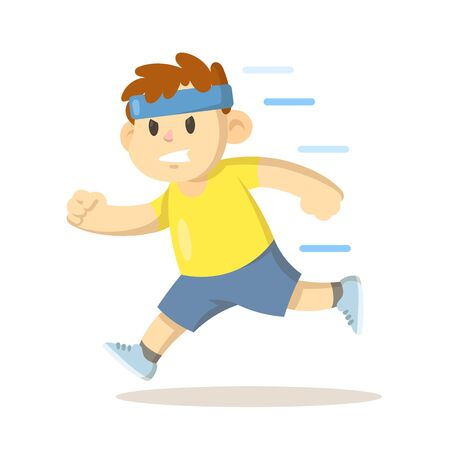 Boy in headband running, cartoon character design. Colorful flat vector illustration, isolated on white background.