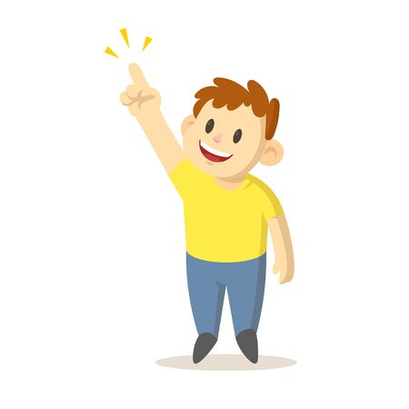 Smiling boy pointing his finger up as showing something, cartoon character design. Colorful flat vector illustration, isolated on white background.
