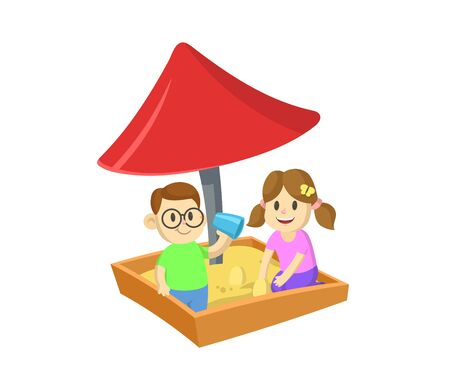 Boy and girl playing in sandbox under the roof. Cartoon flat vector illustration, isolated on white background.