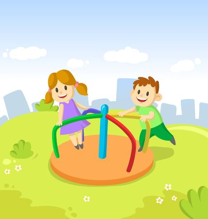Girl and boy ride on small carousel in recreation park on city and blue sky background. Childrens games in amusement park. Funny cartoon characters. Colorful cartoon flat vector illustration.