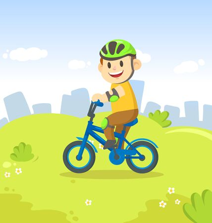 Smiling boy riding a bicycle in the city park. Sport and fitness. Colorful cartoon flat vector illustration.