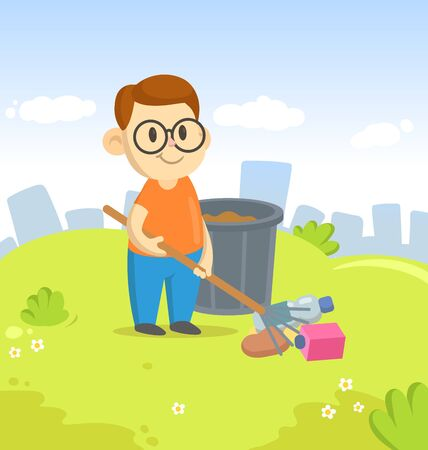 Boy raking garbage next to recycle bin on city and blue sky background. Colorful cartoon flat vector illustration. Stockfoto - 145459093