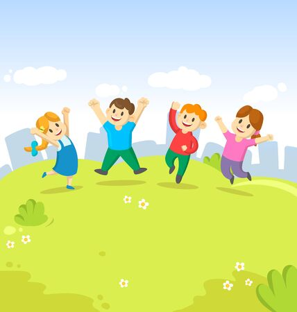 Four cute kids jumping for joy together on the grass on city background. Childhood, playground, fun. Colorful cartoon flat vector illustration. Ilustrace