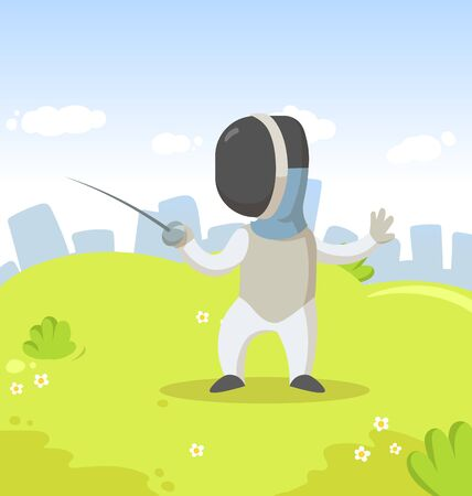 Young fencer with sword, cartoon character standing in the city park. Sport and fitness. Colorful cartoon flat vector illustration.