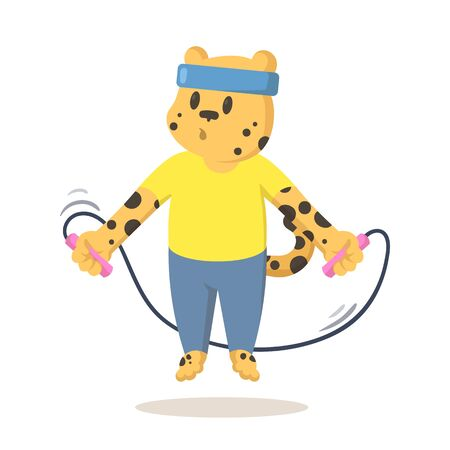 Funny cheetah jumping over skipping rope, cartoon character. Colorful flat vector illustration, isolated on white background. Vektorové ilustrace