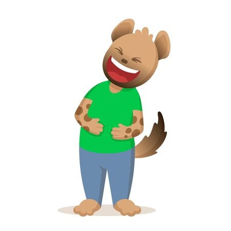 Funny cartoon hyena laughing with its hands on the belly. Colorful flat vector illustration, isolated on white background.