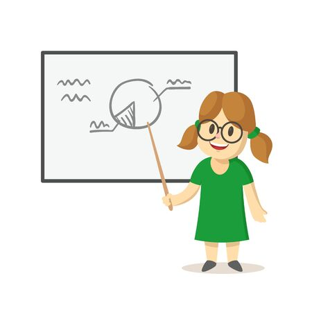 Cute smiling girl standing next to whiteboard with diagram on it. School, classroom, lesson. Colorful flat vector illustration, isolated on white background.