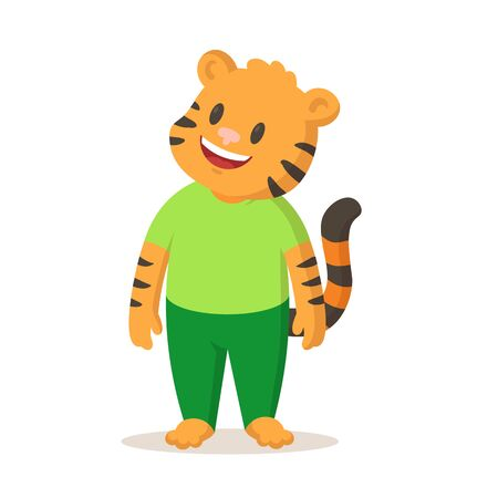 Cute cartoon smiling tiger standing, cartoon character. Colorful flat vector illustration, isolated on white background.