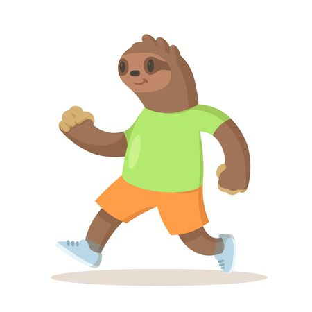 Cute brown sloth wearing sportswear running, cartoon character. Colorful flat vector illustration, isolated on white background.