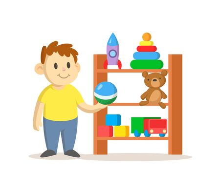 Boy standing next to toy storage cabinet with shelves full of toys. Colorful flat vector illustration, isolated on white background.