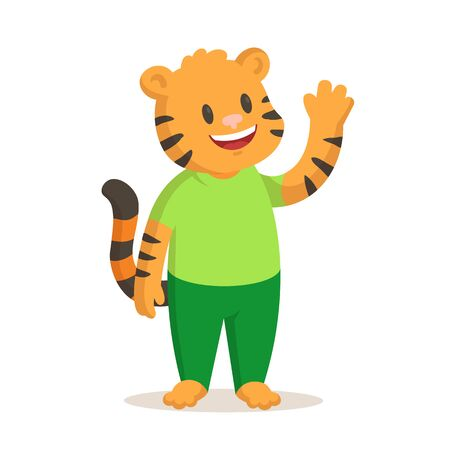 Cute smiling tiger standing waving hand isolated on white Illustration